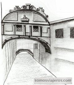 dibujo a lápiz realizado del puente de los suspiros en venecia en la visita que hicimos