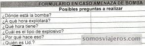documento escaneado de un formulario de amenaza de bomba y preguntas sobre la misma
