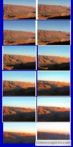 secuencia de fotografías del atardecer en gran cañón