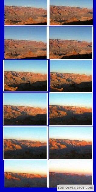 secuencia de imágenes del atardecer en gran cañón del colorado