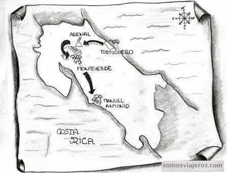 mapa recorrido por costa rica a lápiz
