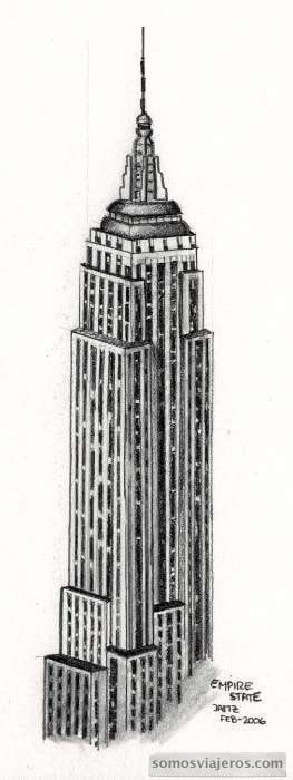 dibujo a lápiz empire state building