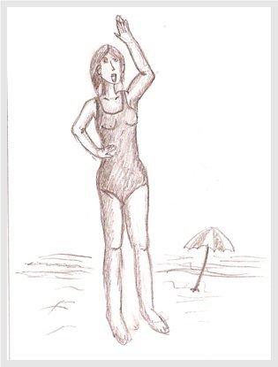 Mujer saluda en la playa