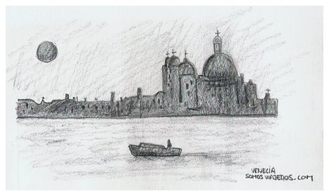 Dibujo a lápiz del atardecer veneciano