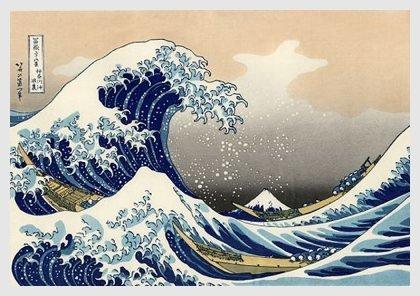 Pared pintada con cuadro de Hokusai