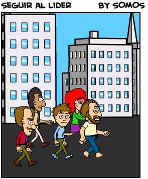 Seguir al líder al cruzar un paso de peatones