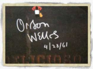 Firma Orson Welles en bodega Gonzalez Byass de Jerez