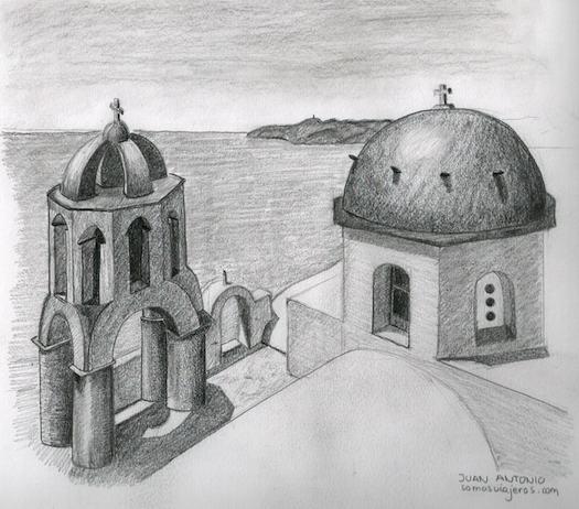 Dibujo del pueblo Oia en Santorini