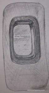 dibujo a lapiz de una ventanilla de avión viajando a cantabria infinita