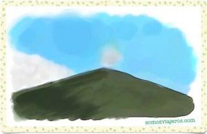 dibujo acuarela volcán