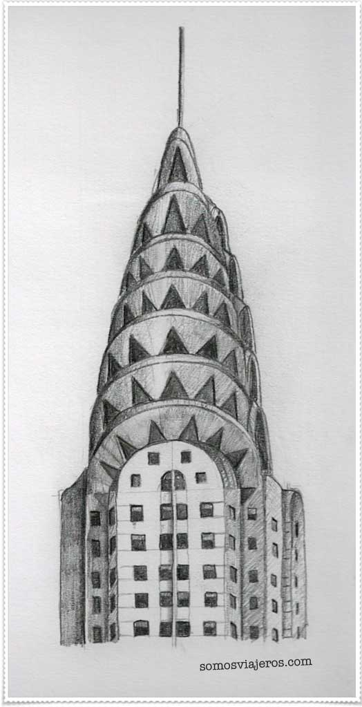 Edificio Chrysler de Nueva York dibujado a lápiz