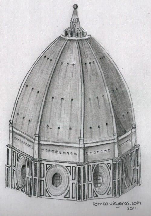 Dibujo a lápiz cúpula catedral de Florencia
