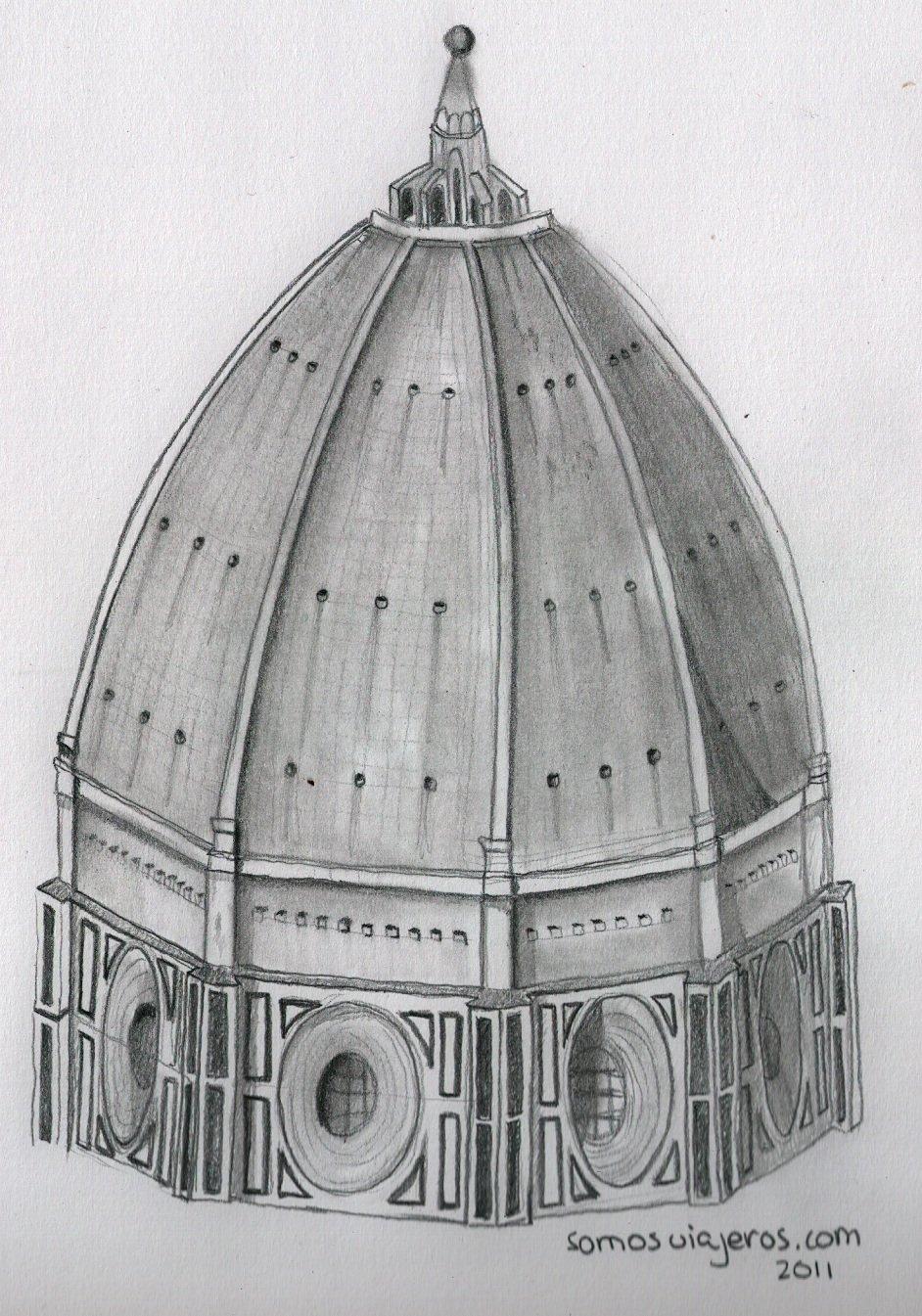 dibujo a lápiz catedral de Brunelleschi