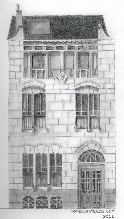 Dibujo a lápiz de la masion de Autrique en Bruselas