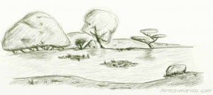 Dibujo a lápiz del japanese tea garden en San Francisco