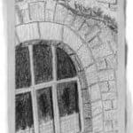dibujo a lápiz de un trozo de terraza belga