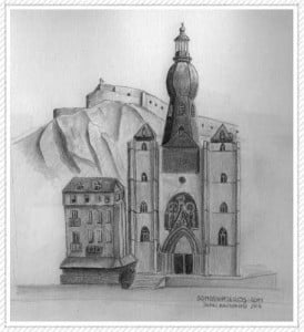 Dibujo de la ciudad Belga de Dinant