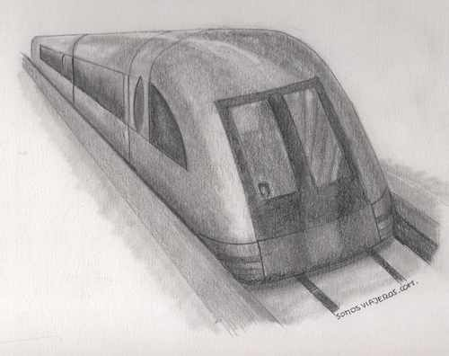 Dibujo tren Maglev en China