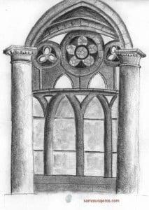Dibujo catedral interior de Dinant