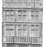 Dibujo de edificio en la Grand Place de Bruselas en Bélgica