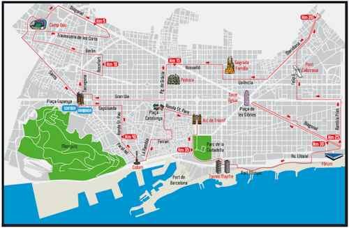 Mapa maratón Barcelona