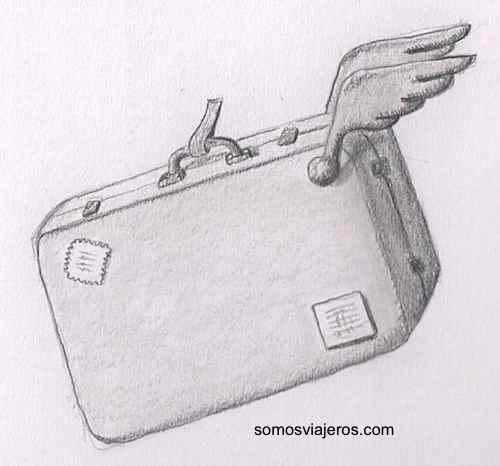 Dibujo a lápiz de maleta voladora