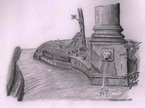 Dibujo del jardín de Bardini en Florencia