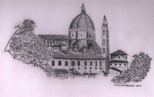 Dibujo vistas de Florencia desde jardines Bardini