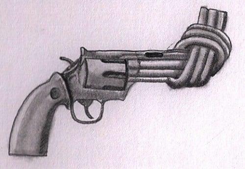 dibujo pistola cañon anudado