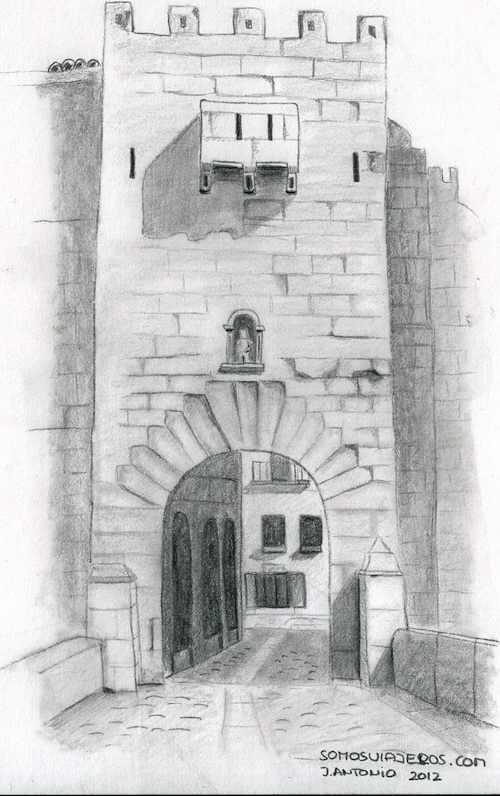 dibujo portal san roque valderrobres