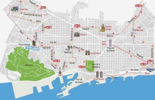 Plano maratón de Barcelona