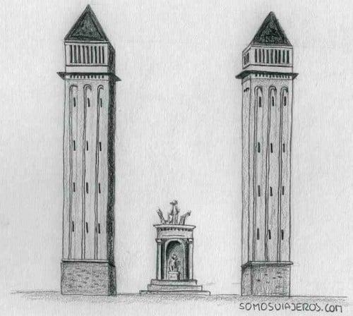 dibujo plaza de españa barcelona