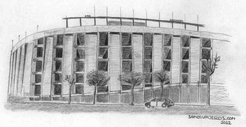 Dibujo a lápiz estadio Camp Nou FC Barcelona