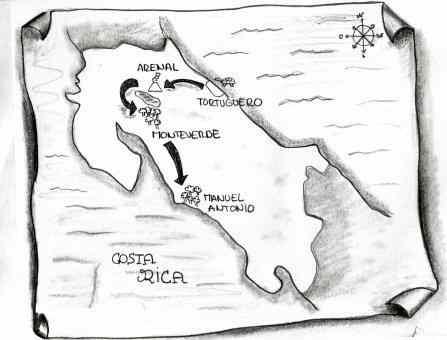 Mapa hecho a lápiz y simulando un pergamino del recorrido por costa rica