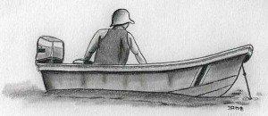dibujo a lápiz de pescador en Tortuguero