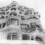 Dibujo a lápiz de la Pedrera o Casa Milà de Gaudí