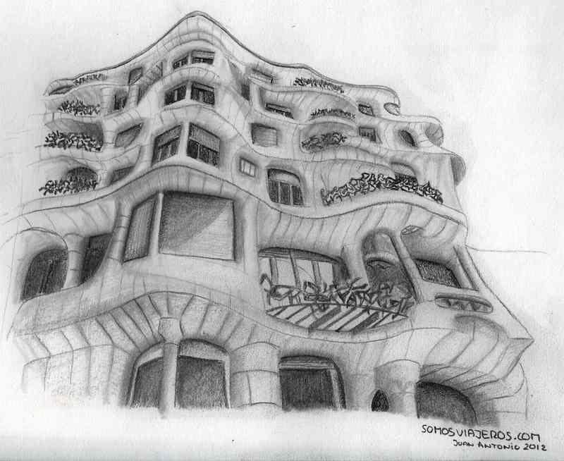 Dibujando A Gaudí La Pedrera En El Maratón De Dibujo De Barcelona