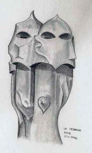 Dibujo de los guerreros de la pedrera en chimeneas