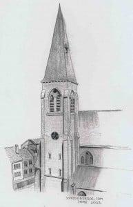 La Roche Iglesia Dibujo Valonia Belgica