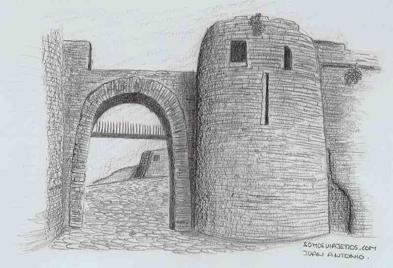 Dibujo del castillo a lápiz de La Roche en la Valonia Belga