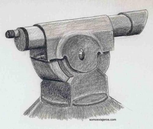 dibujo de un telescopio en un mirador