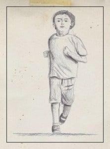 Dibujo niño corriendo
