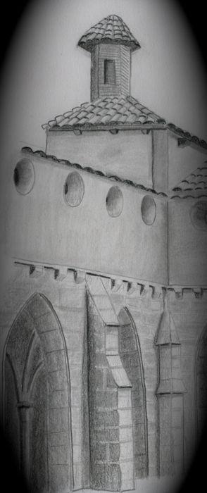 dibujo lápiz monasterio de piedra