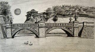 Dibujo a lápiz del palacio imperial de tokyo. fue mi primer dibujo
