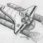 dibujo lápiz transbordador espacial o cochete