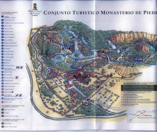 Mapa con los puntos de interés visita al monasterio de piedra