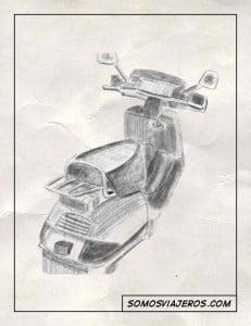 dibujo a lápiz de una moto