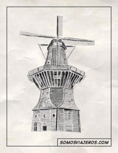 dibujo de un molino en holanda
