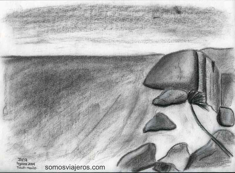 Boceto a carboncillo de una vista de Tulum (mexico)