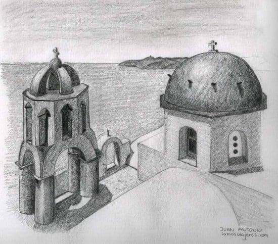 Dibujo a lápiz de Santorini en Grecia
